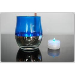 Lampka  - LAMPION ZNICZ LED SZKŁO NIEBIESKI NOWY