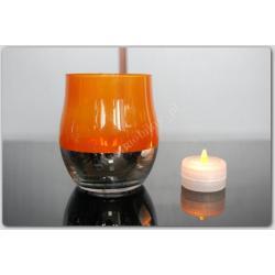 Lampka  - LAMPION ZNICZ LED SZKŁO POMARAŃCZ NOWY
