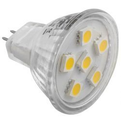 Force light Żarówka LED MR11 6 SMD 5050 1,3W (10W) 90lm 12V barwa zimna 0440